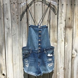 NWT Forever 21 Distressed Denim Overall Short 28